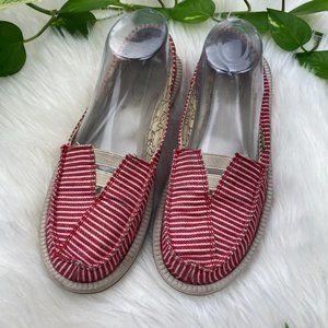 Sanuk Flats Red Striped Slip On Shoes Comfort